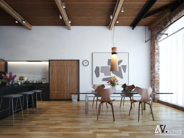 Freshly renovated industrial spaces make for dining rooms that are easily swallowed up by vaulted ceilings