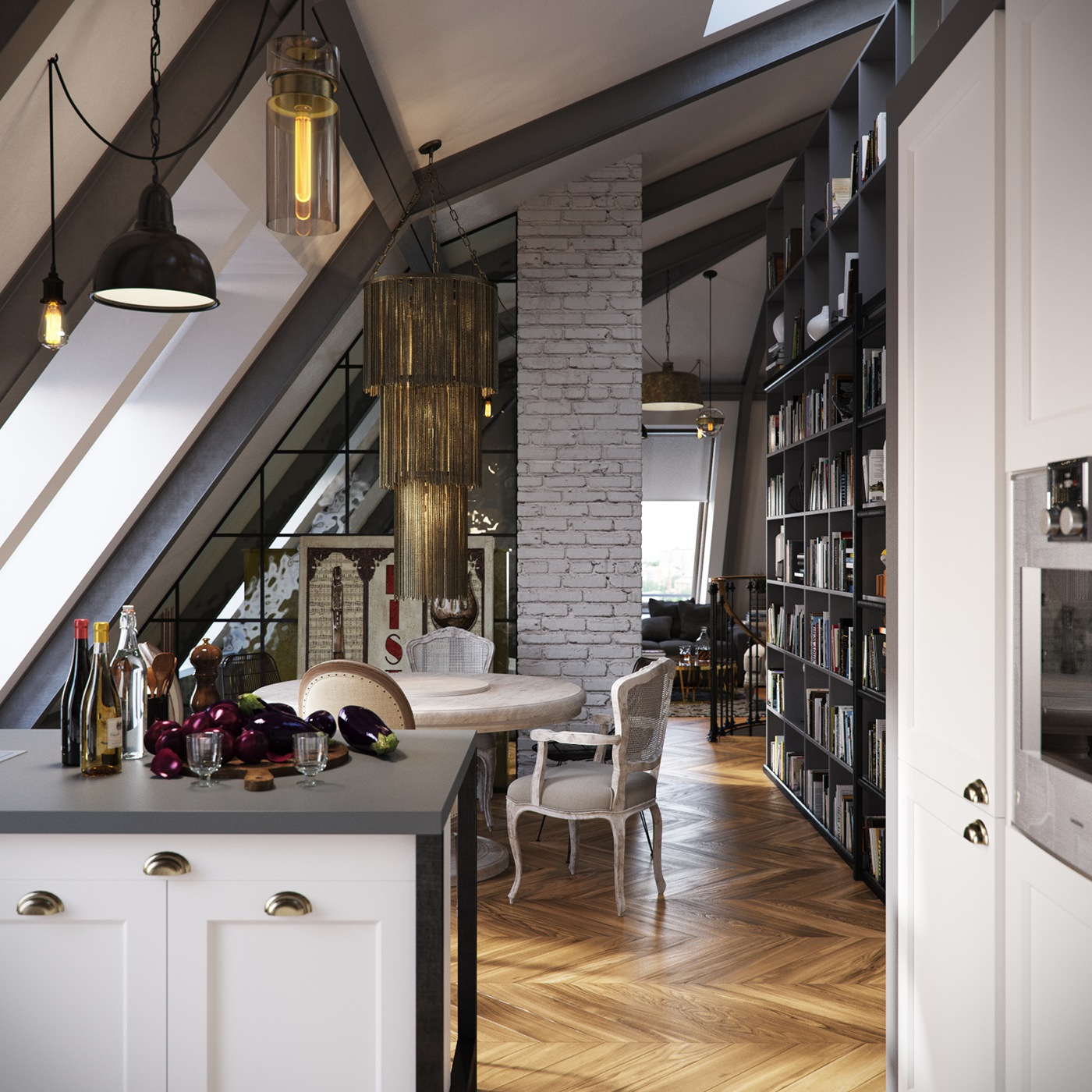 Loft Apartments: Three Dark Colored Loft Apartments With Exposed Brick Walls