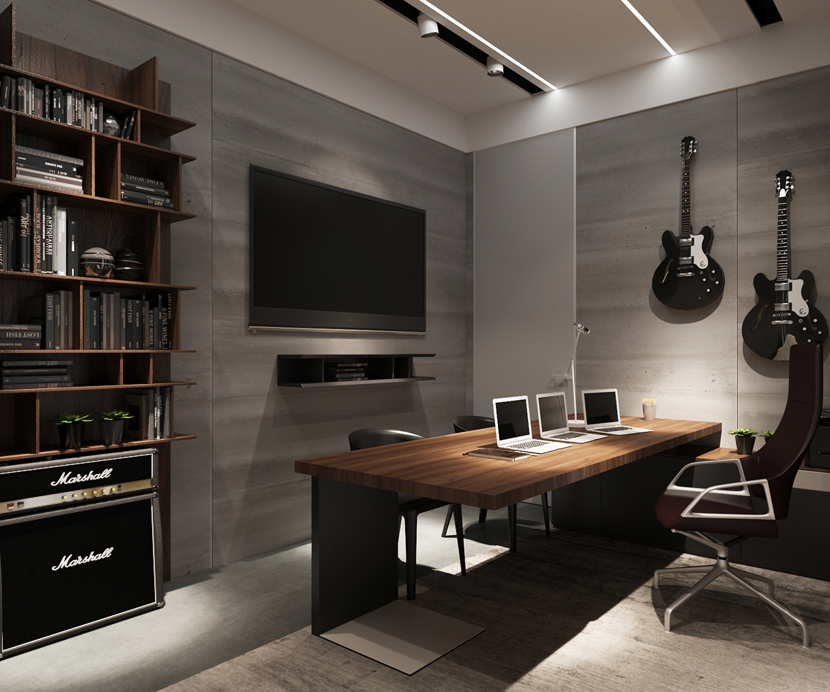 33 Stylish And Dramatic Masculine Home Office Design Ideas: 3 Examples Of Modern Simplicity