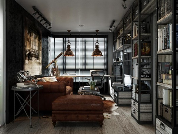 Collectible Style In A One Bedroom Nyc Apartment: Three Dark Colored Loft Apartments With Exposed Brick Walls