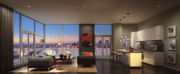 Phòng khách cực kỳ hiện đại này sử dụng đường nét của nó để tạo ra một bầu không khí tràn đầy rằng là trong sạch và thanh thản.