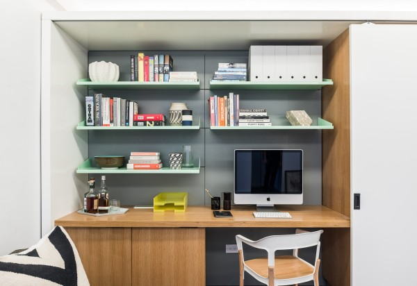 The working area for the home is perhaps not as spacious as some home offices, but the sliding cabinetry means that it is easy to hide away when work is not on your mind. The same is true of the closet and dressing space, which can be accessed with the bed in either of its positions.