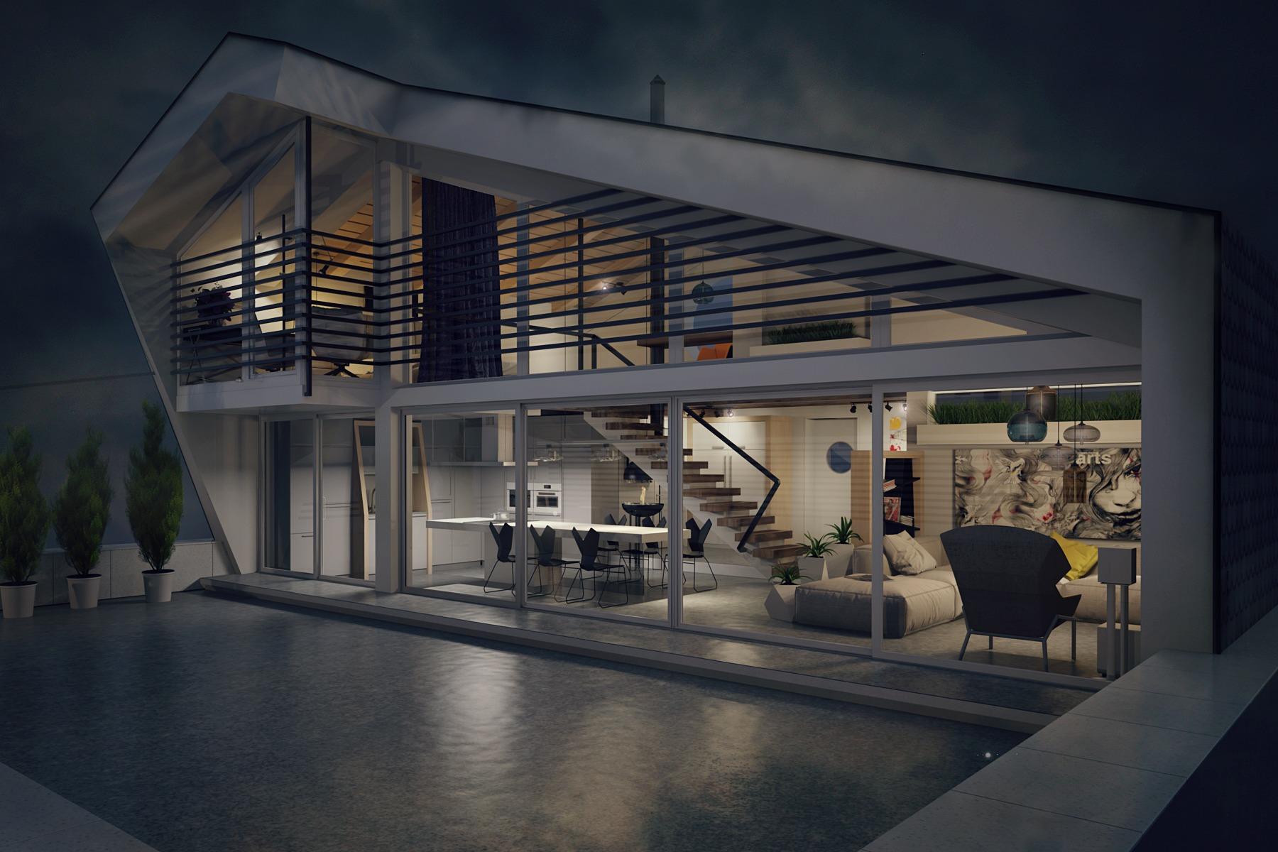 Modern Penthouse Exteriorinterior Design Ideas