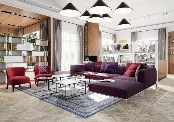 Các không gian đầu tiên là sáng vui vẻ nhưng không quá bận rộn.  Đồ nội thất đầy màu sắc sống trong các gia đình cùng một màu sắc, cho một cảm giác thống nhất để các khu vực sinh sống, trong khi một vài yếu tố tương phản thêm lãi suất.  Một nhà văn phòng đơn giản với các tùy chọn trang trí nội thất rất trơn thực sự là một khóa tu cho một sáng tạo - nhưng cần cù - người cư ngụ trong khi một chút hay thay đổi trong cách của các yếu tố hải lý và tròn, bong bóng ánh sáng đồ đạc giữ không gian ấm áp và chào đón.