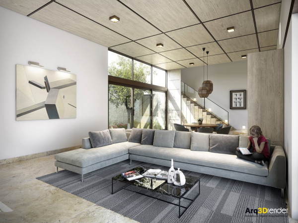 A spacious living room dominated by a soft gray sectional is perfect for a family that wants to relax in style.