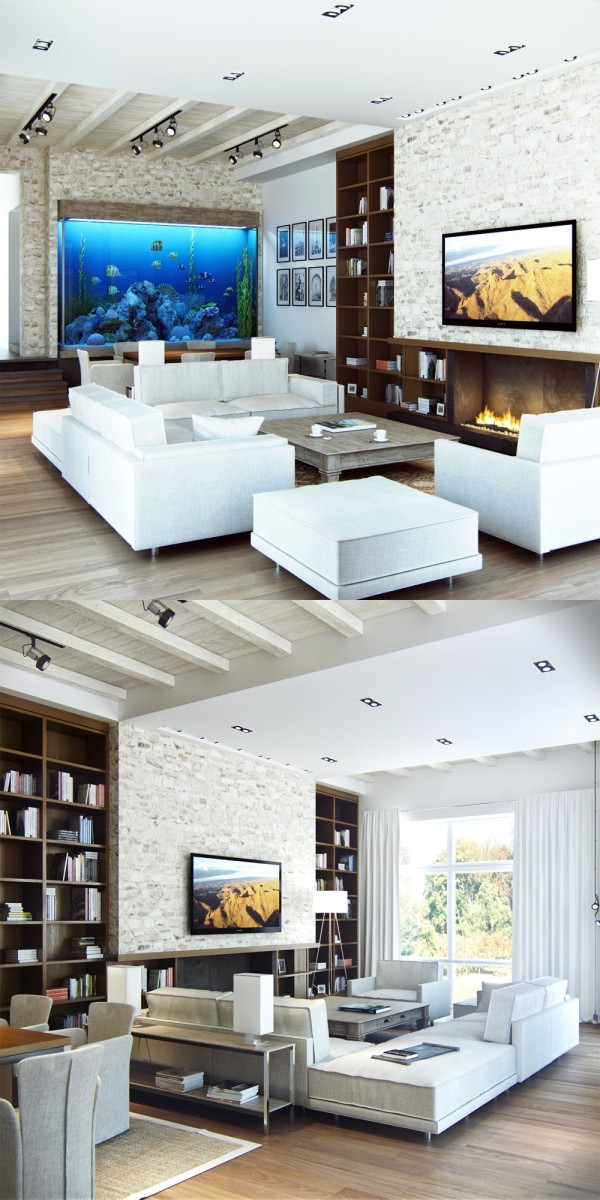 The stone walls in this living room, coupled with the exposed rafters, have the feel of an East Coast Retreat.