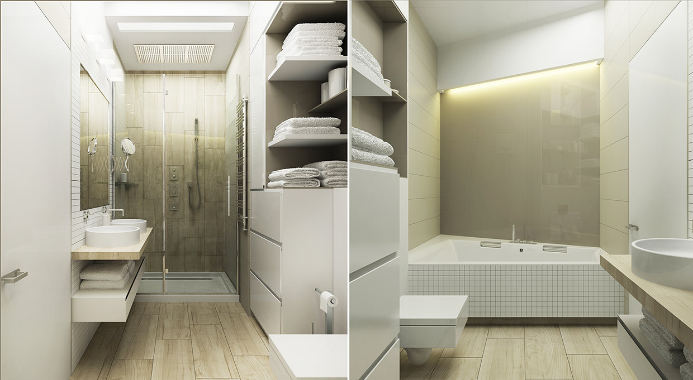 White Gold Bathroom Interior Design Ideas