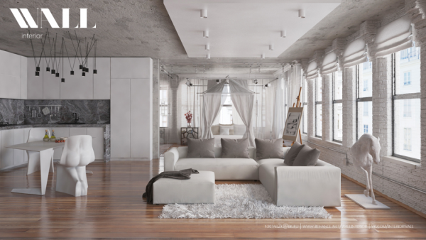 The curtains and soft rugs give this living room a romantic air.