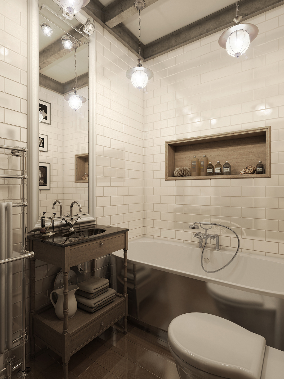 three dark colored loft apartments with exposed brick walls. Black Bedroom Furniture Sets. Home Design Ideas