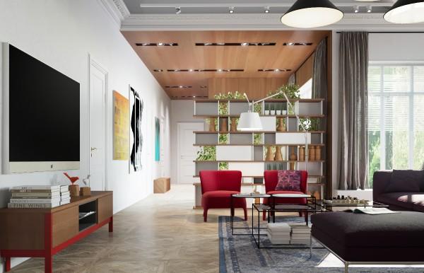 Wood ceiling paneling