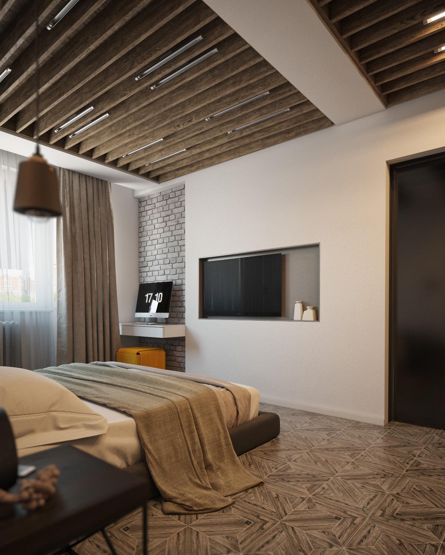 Wood Beam Bedroom Ceiling