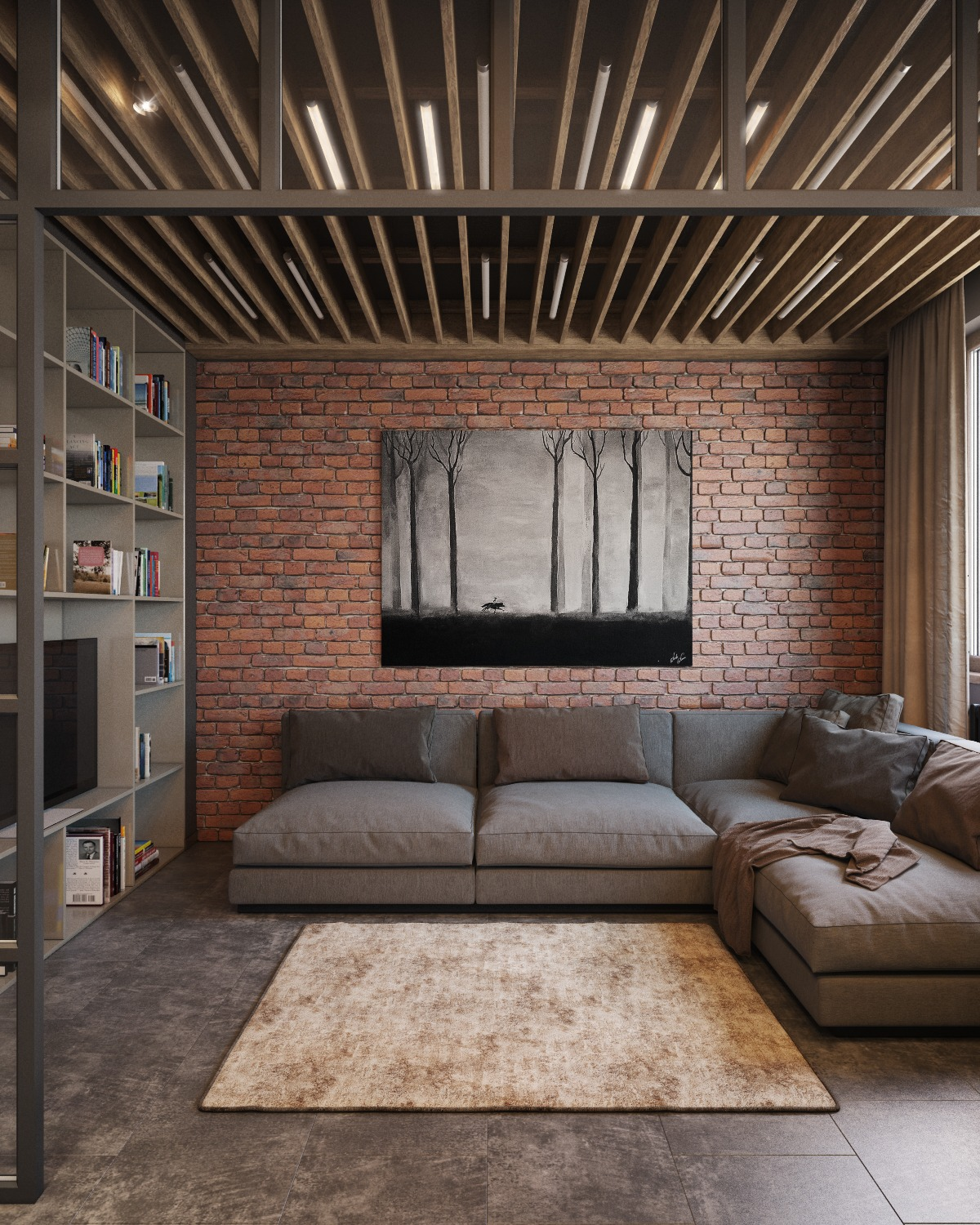 Wood Beam Ceiling With Lights