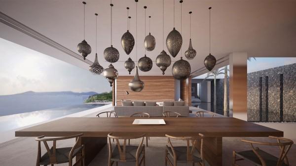 Phía trên bàn ăn, một loạt độc đáo của đèn mặt dây chuyền tạo ra một đầu mối để thỏa thích.