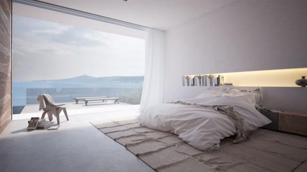 Các phòng ngủ cảm thấy thanh thản, như sợi tự nhiên, tường trắng sắc nét, và nhiều ánh sáng tự nhiên kết hợp với nhau.