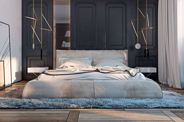 Miami apartment in stormy muted tones nesting coffee tables in the bedrooms soft luxurious textures take over soft shag rugs create pools
