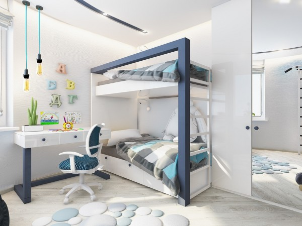 Modern bunk bed 4 kids room designs with color to spare modern bunk bed