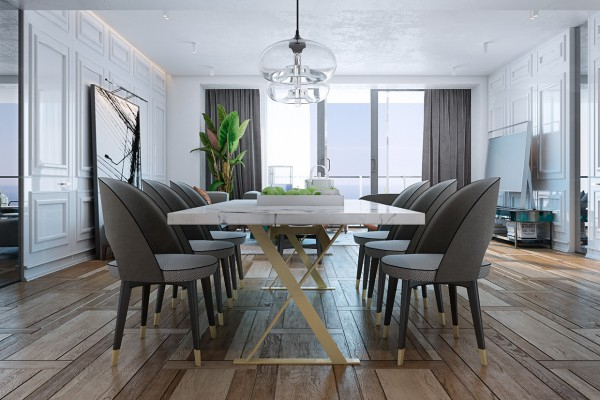 Modern dining set a miami apartment in stormy muted tones modern dining set