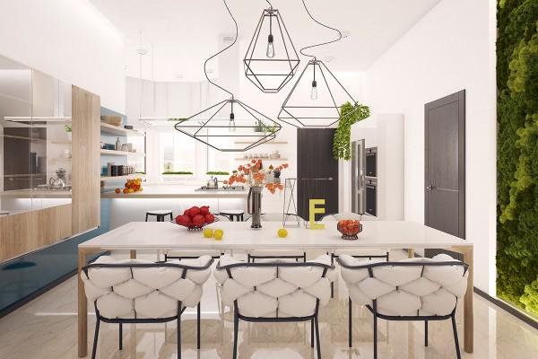 Indoor vertical garden · wire light fixtures
