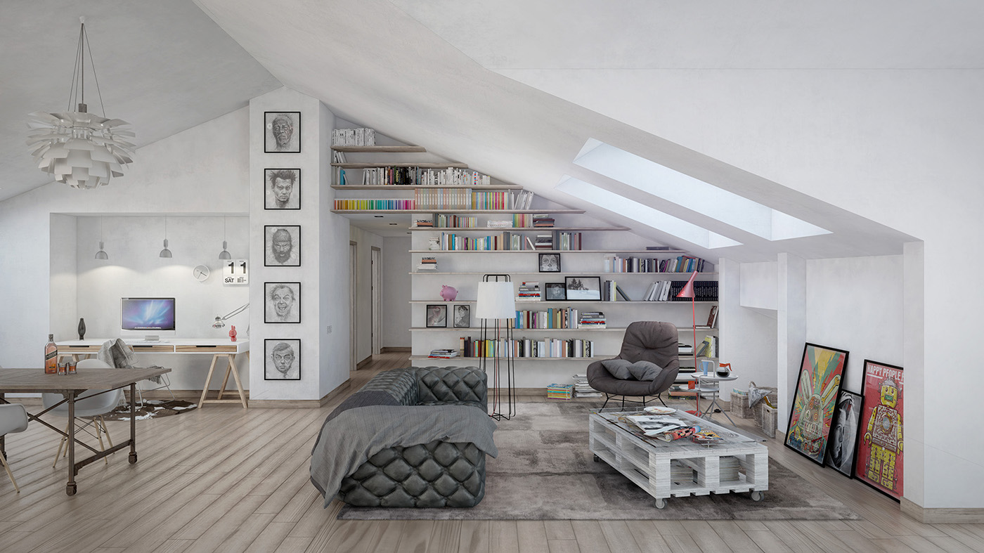 Arredare Open Space 4 stylish homes with slanted ceilings