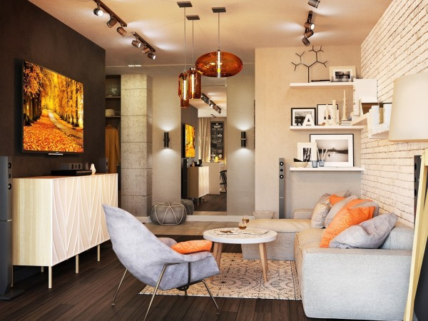 Grey Feature Wall >> Chic Studio Apartments with Artsy Accents