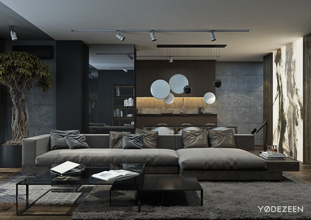 Stone And Wood Make A Dark Masculine Interior: A Dark And Calming Bachelor Bad With Natural Wood And Concrete
