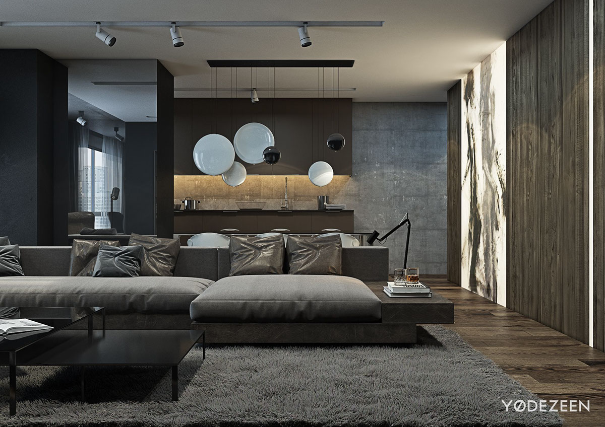 A dark and calming bachelor bad with natural wood and concrete - Interior design living room modern ...