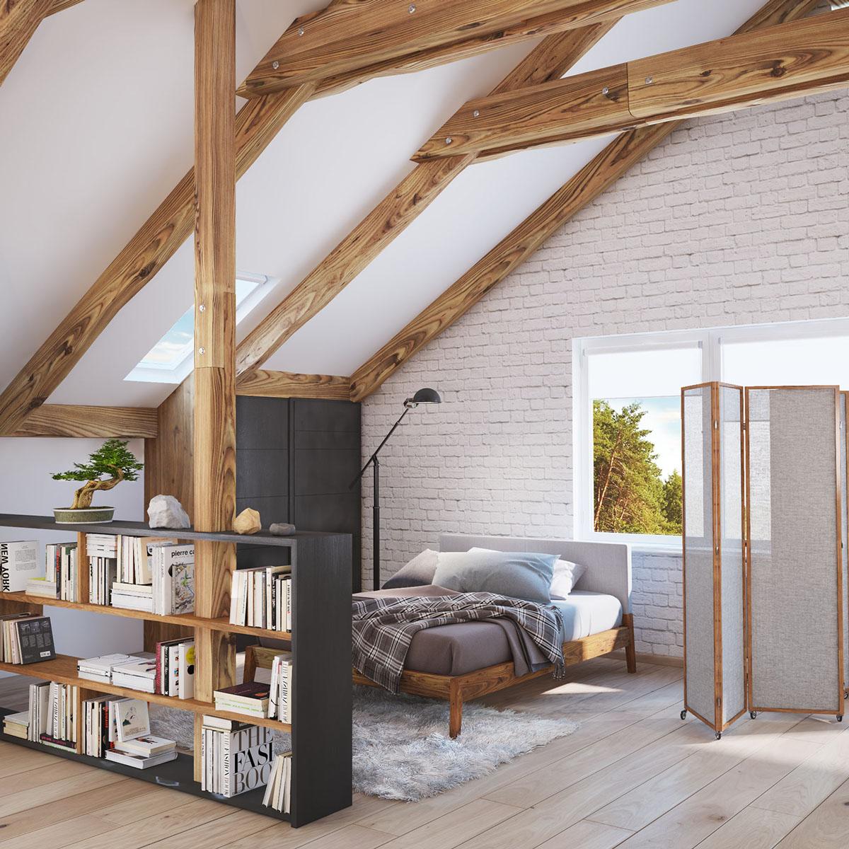 stylish homes  slanted ceilings