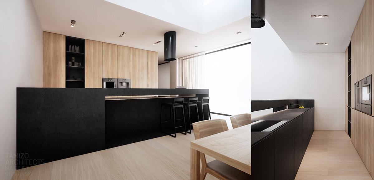 Black kitchen counter interior design ideas - Black and wood kitchen ...