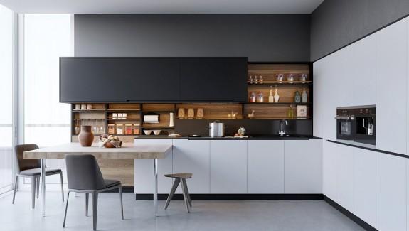 Grey Interior Kitchen With White Floor Black Furniture