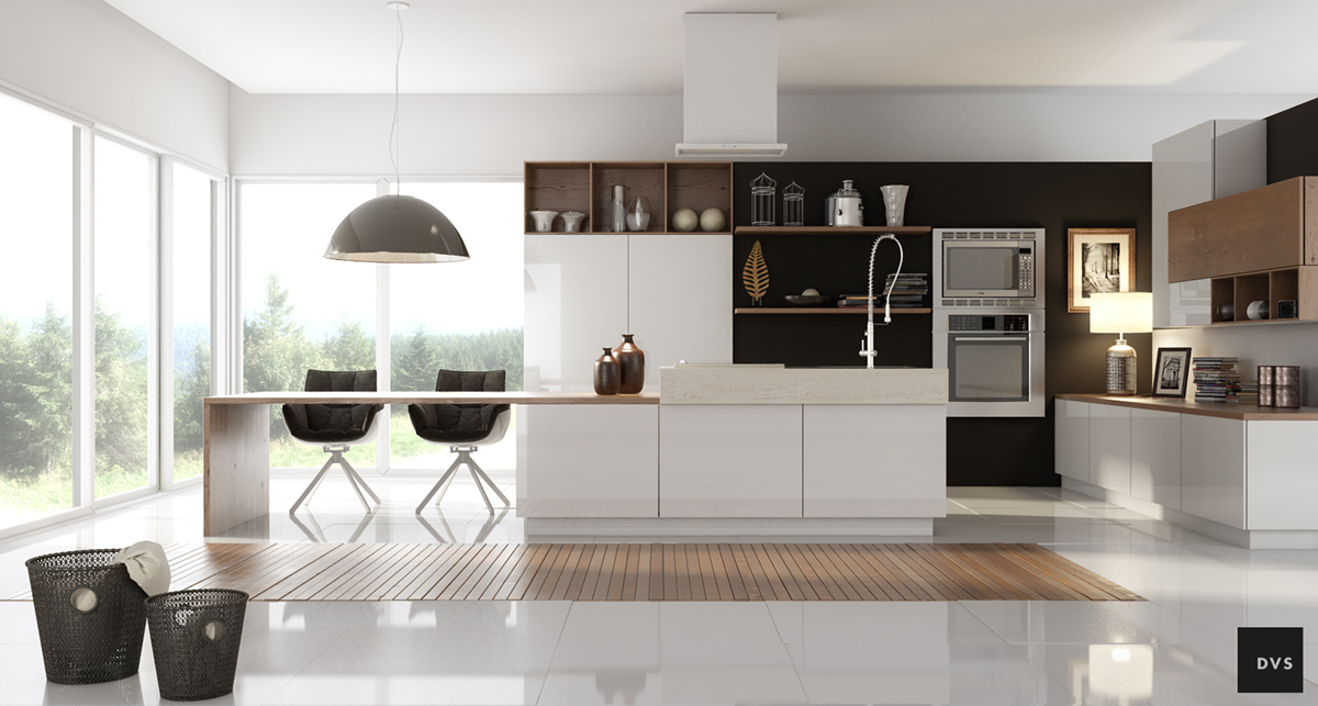 Black White Wood Kitchens
