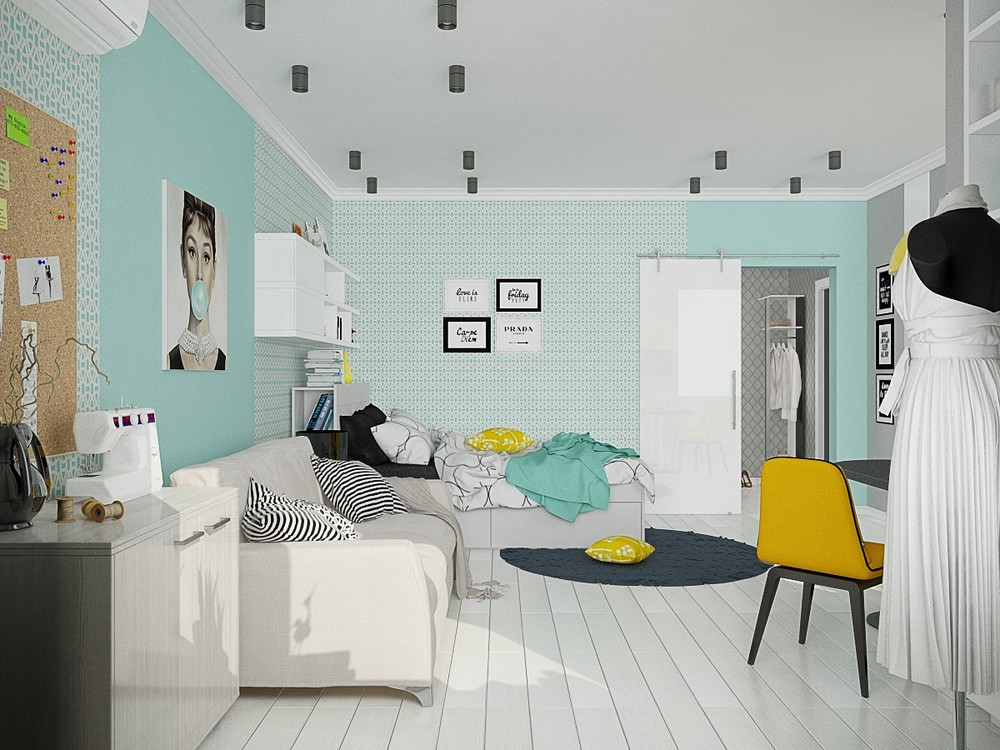 Teal walls 4 small beautiful apartments under 50 square meters