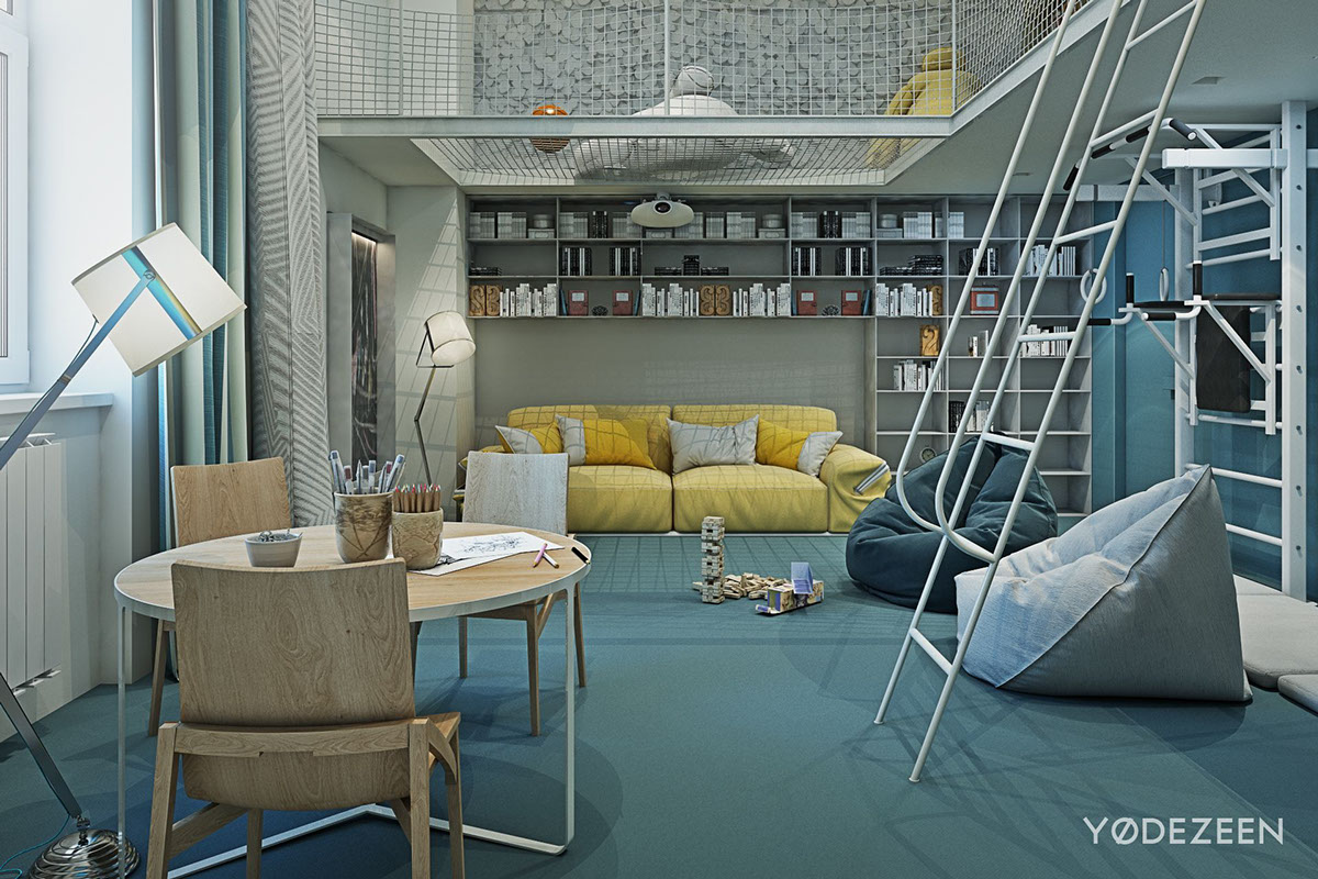 10 Amazing Kids Room Ideas: A Kids Friendly Apartment Design With Lots Of Playful Features
