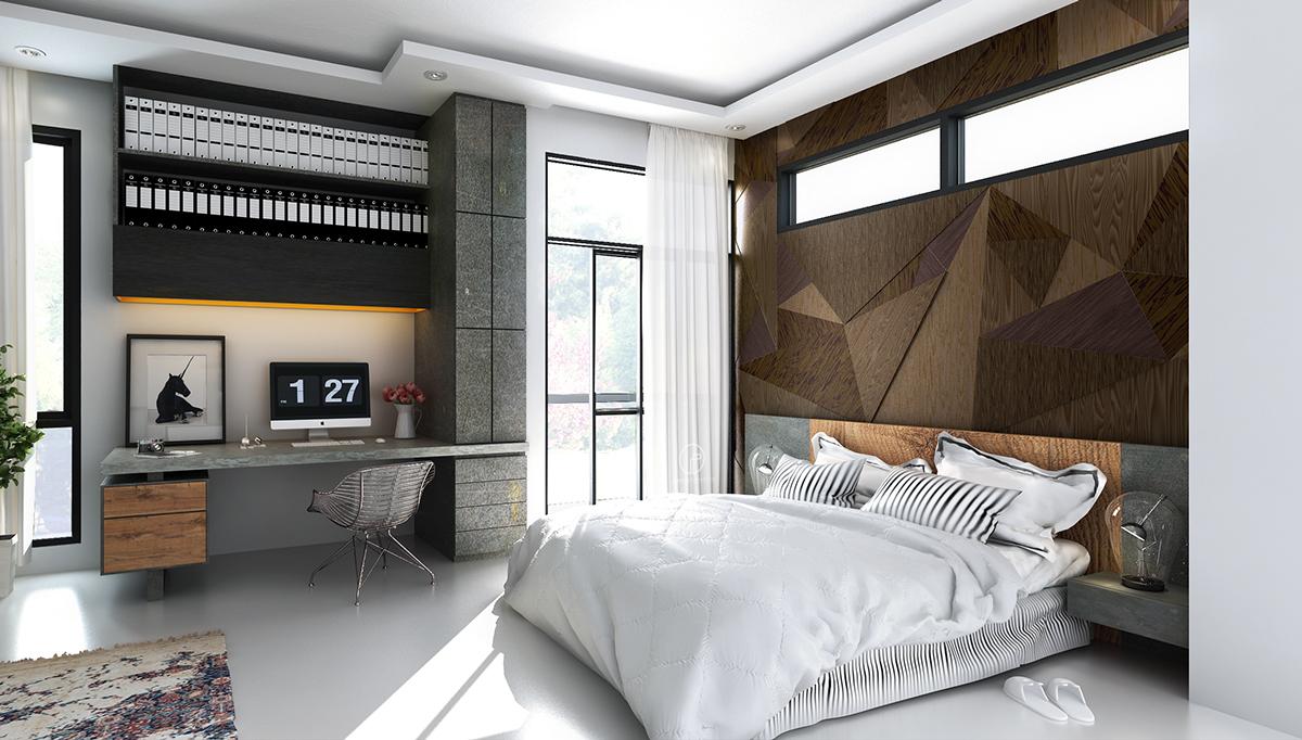 Bedroom Workspace Storage Interior Design Ideas