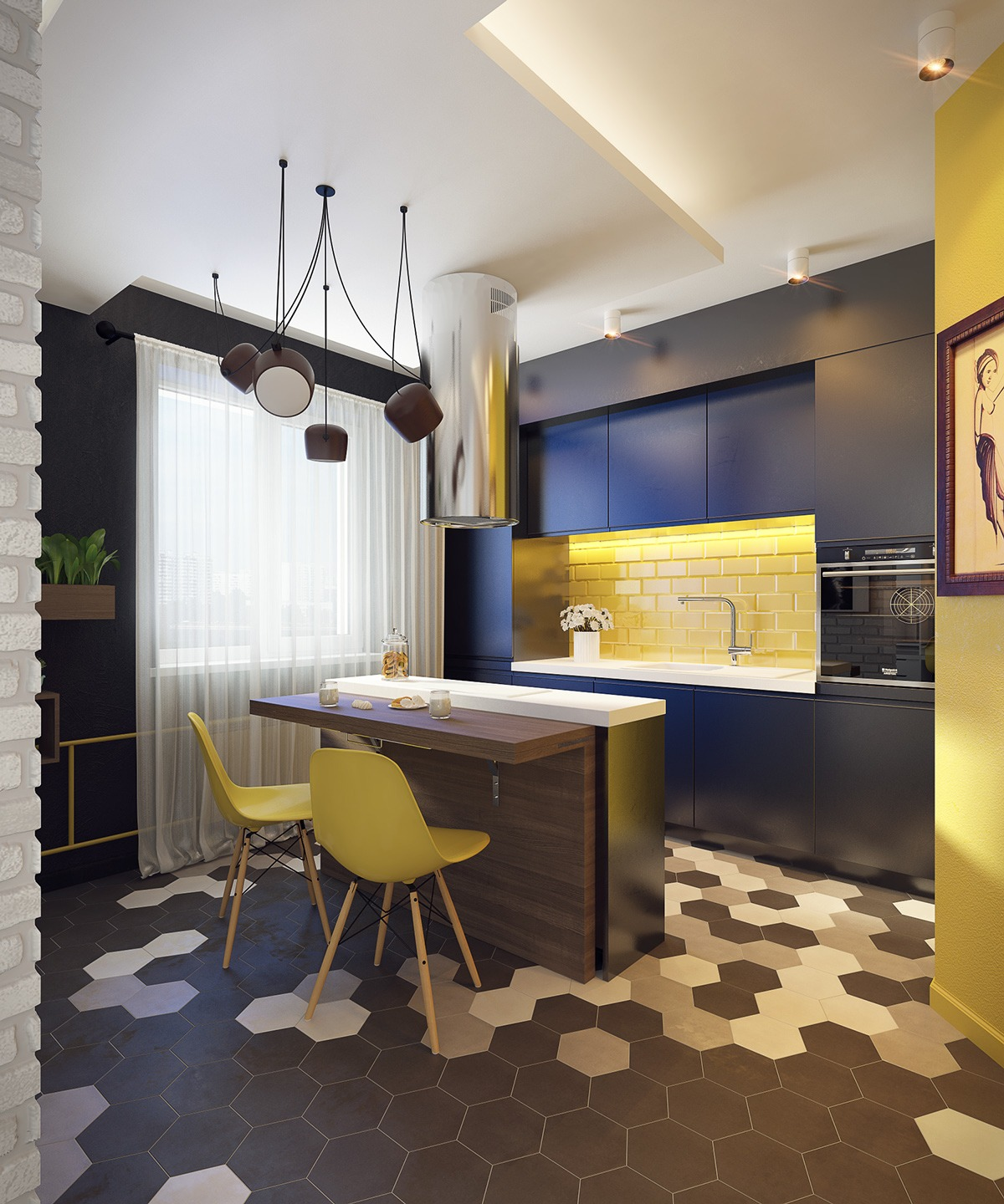 Black Yellow Kitchen Interior Design Ideas