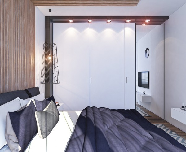 bedroom track lighting a contemporary apartment with lots of open space 10705