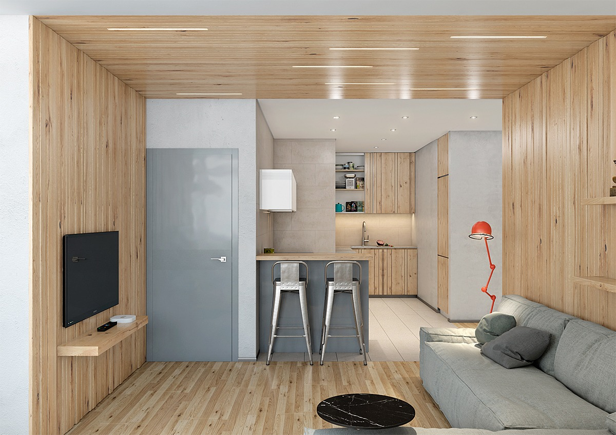 Image of: Two Lovely Apartments Featuring Wood Paneling