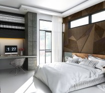 Rugged materials and geometric patterns give these bedroom walls a cool industrial appeal. Industrial-inspired design can sometimes make a room feel too cold, but the liberal use of contrasting texture makes this space feel warm and appealing.