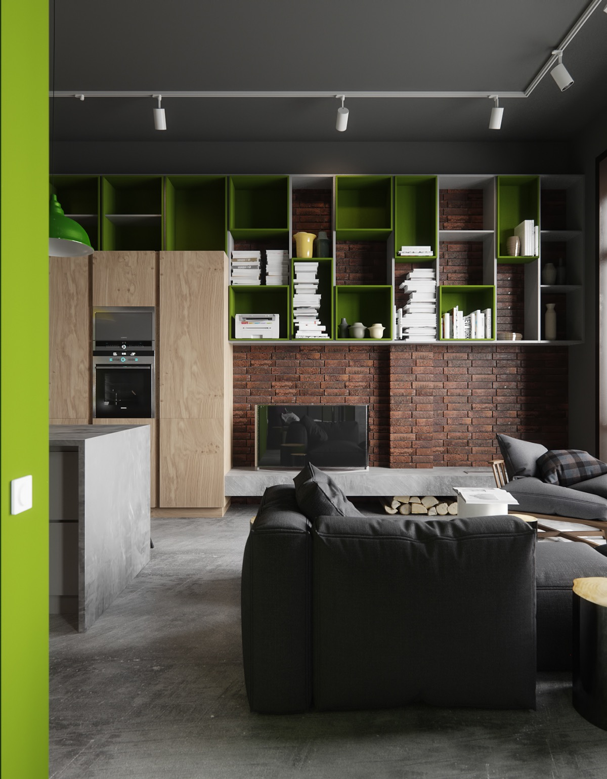 Lime green wall cabinets