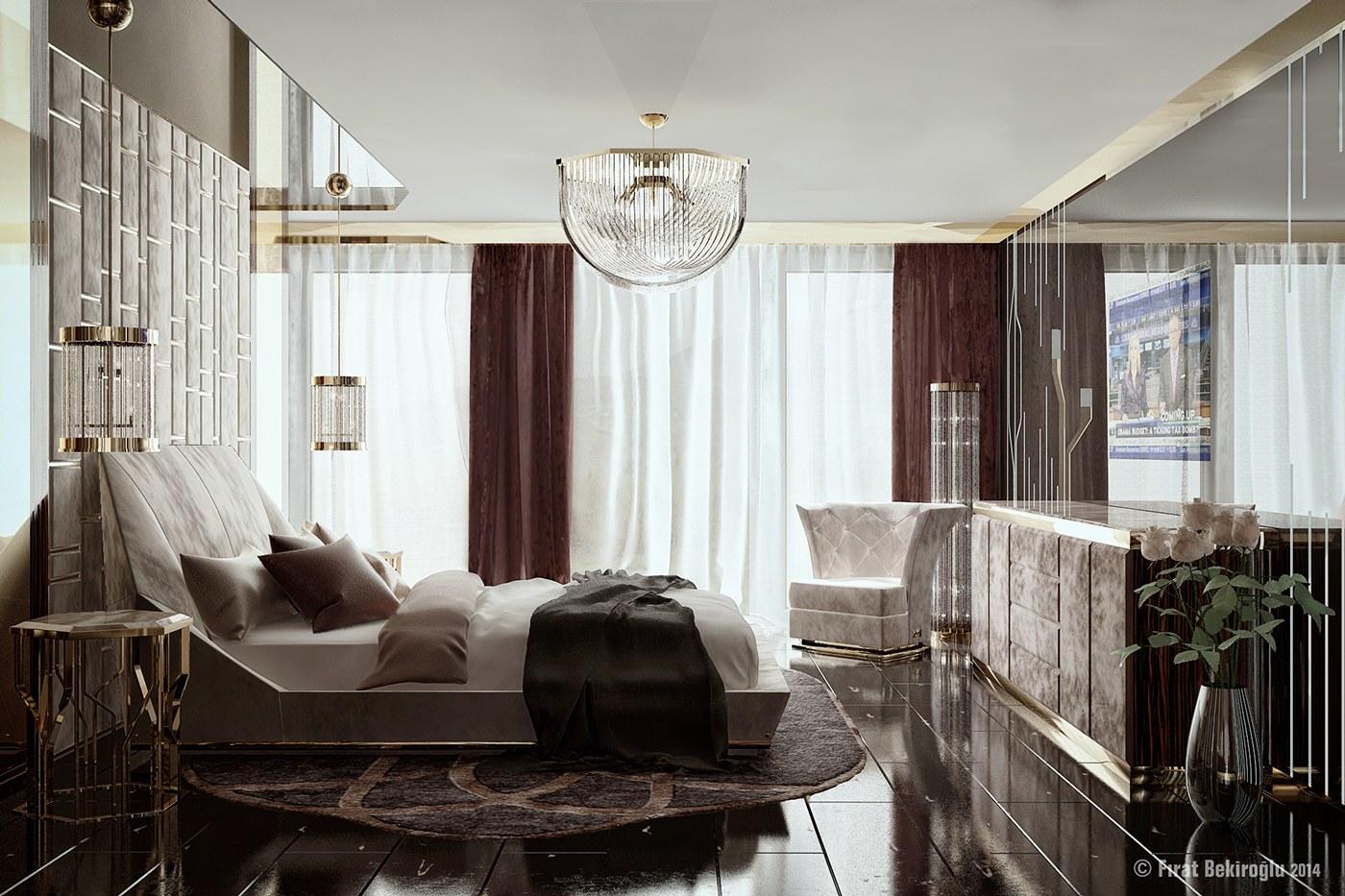 Maroon Curtains Interior Design Ideas