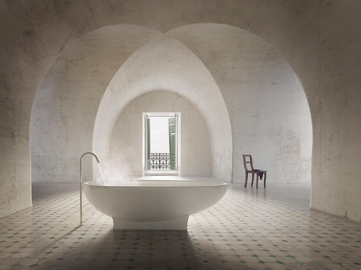 Pedestal freestanding bathtub interior design ideas