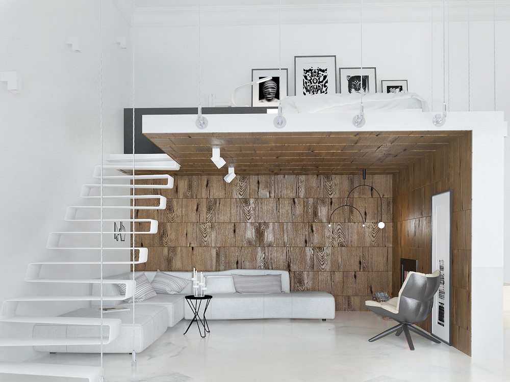 White and wood design 4 awesome small studio apartments with lofted beds