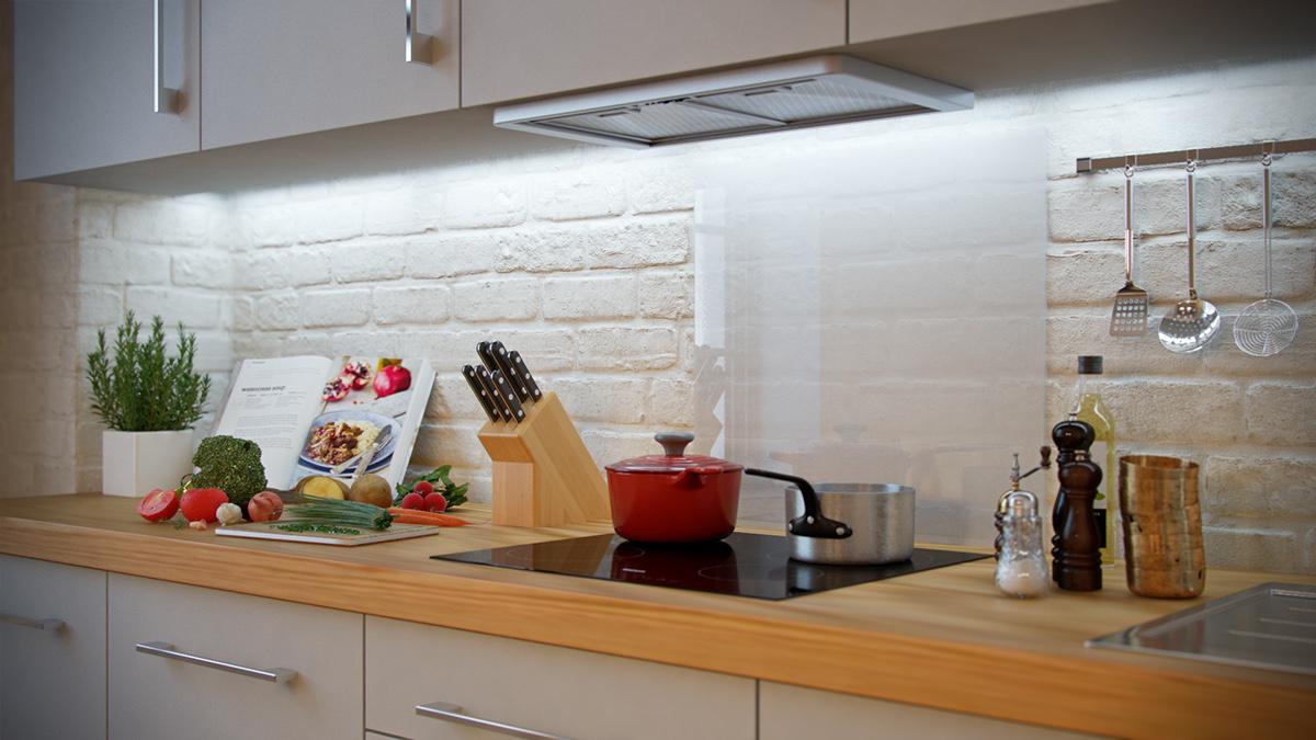 - White-brick-backsplash Interior Design Ideas.