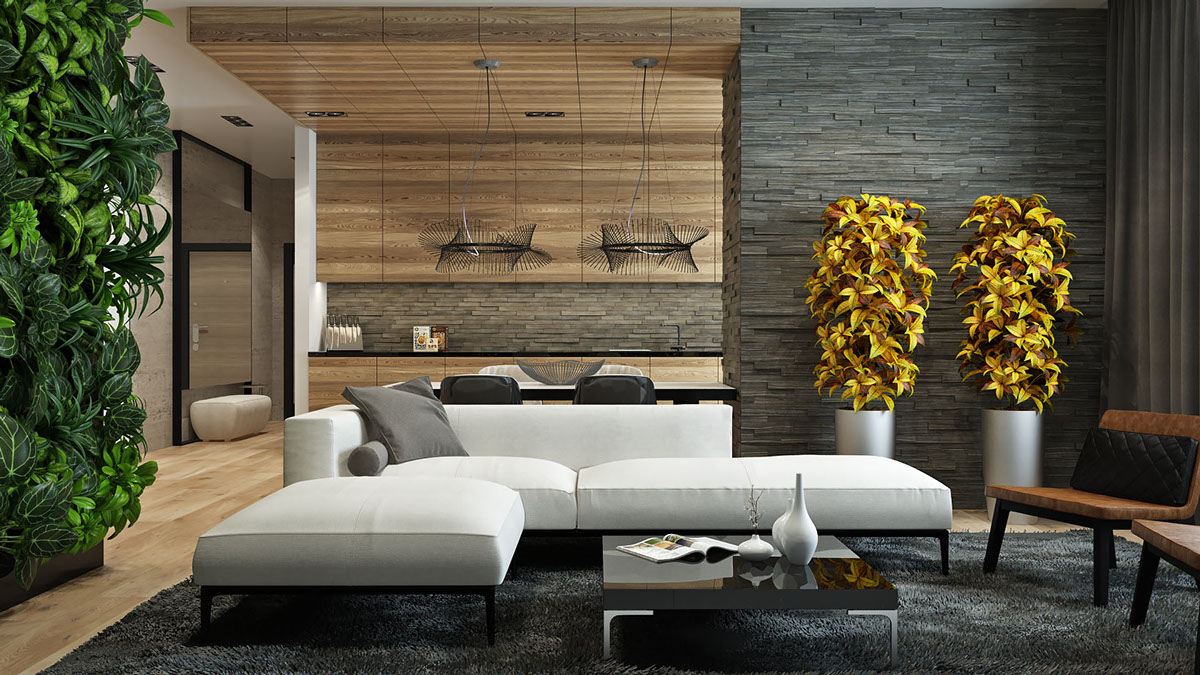 wood and stone living room