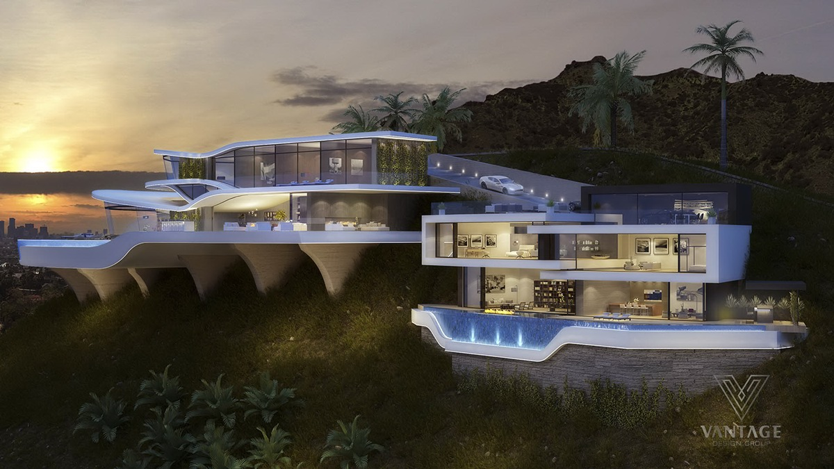 Cantilever hollywood hills home