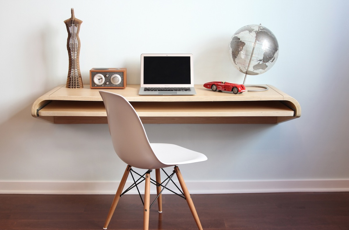 curved floating desk