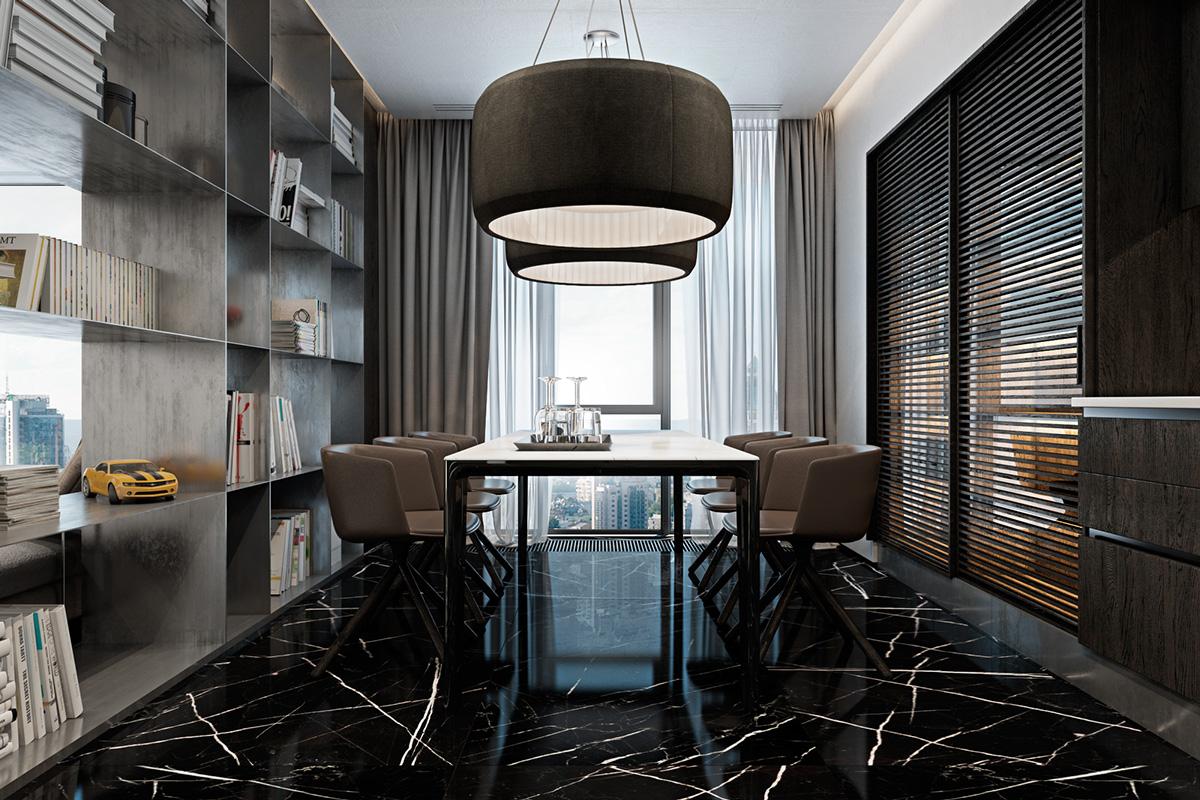 Three Luxurious Apartments With Dark Modern Interiors