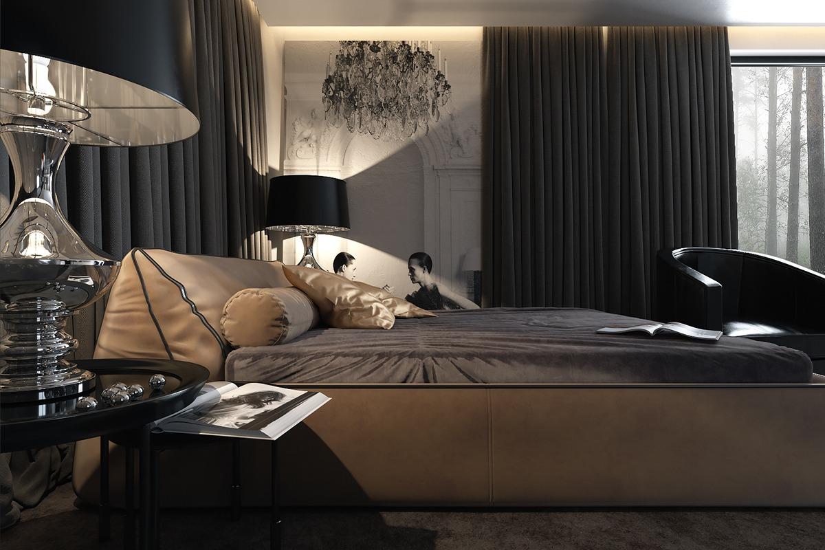 Designer Luxury Bedroom: Three Luxurious Apartments With Dark Modern Interiors