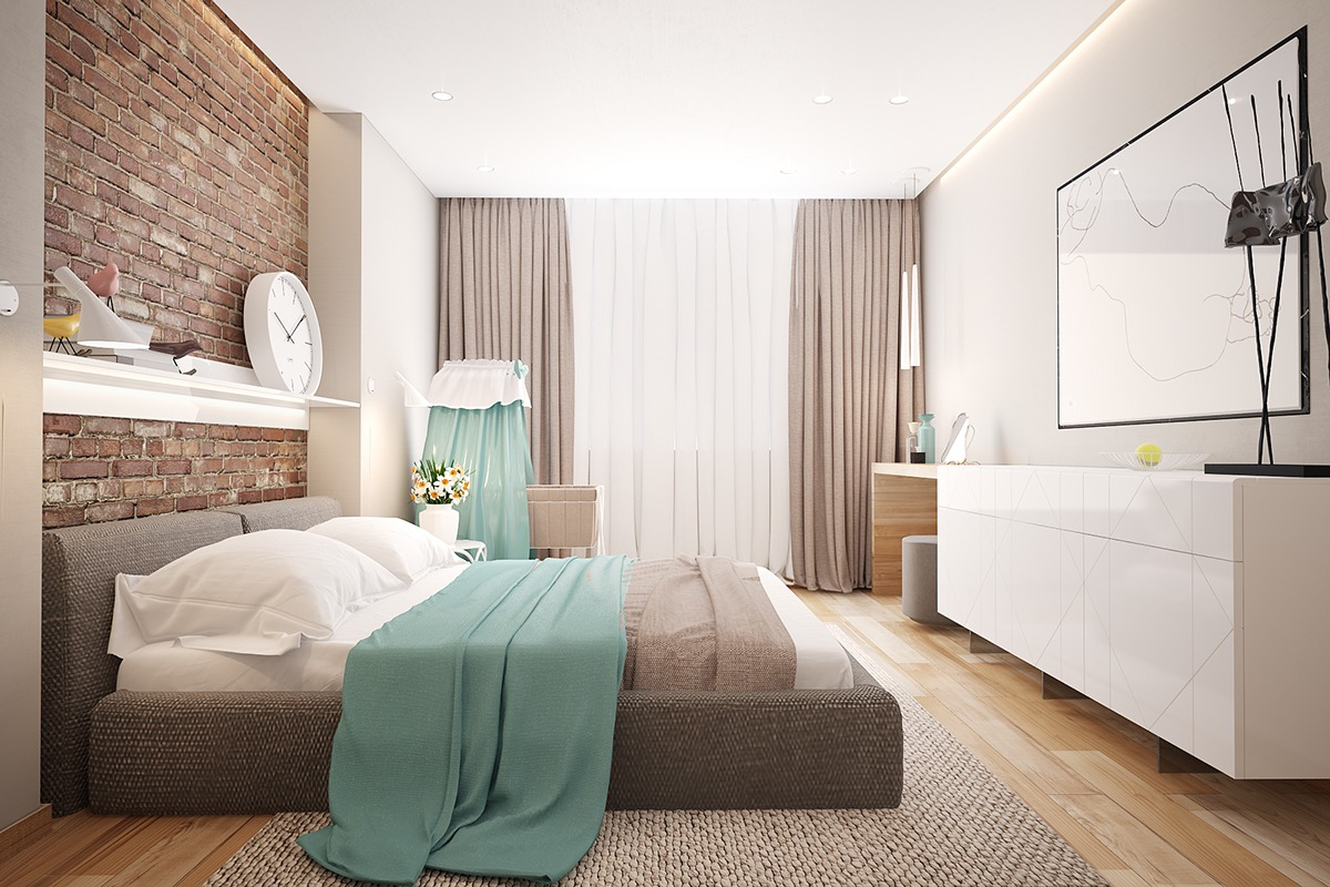 modern chic bedroom decorating ideas 3 stunning homes with exposed brick accent walls 19244
