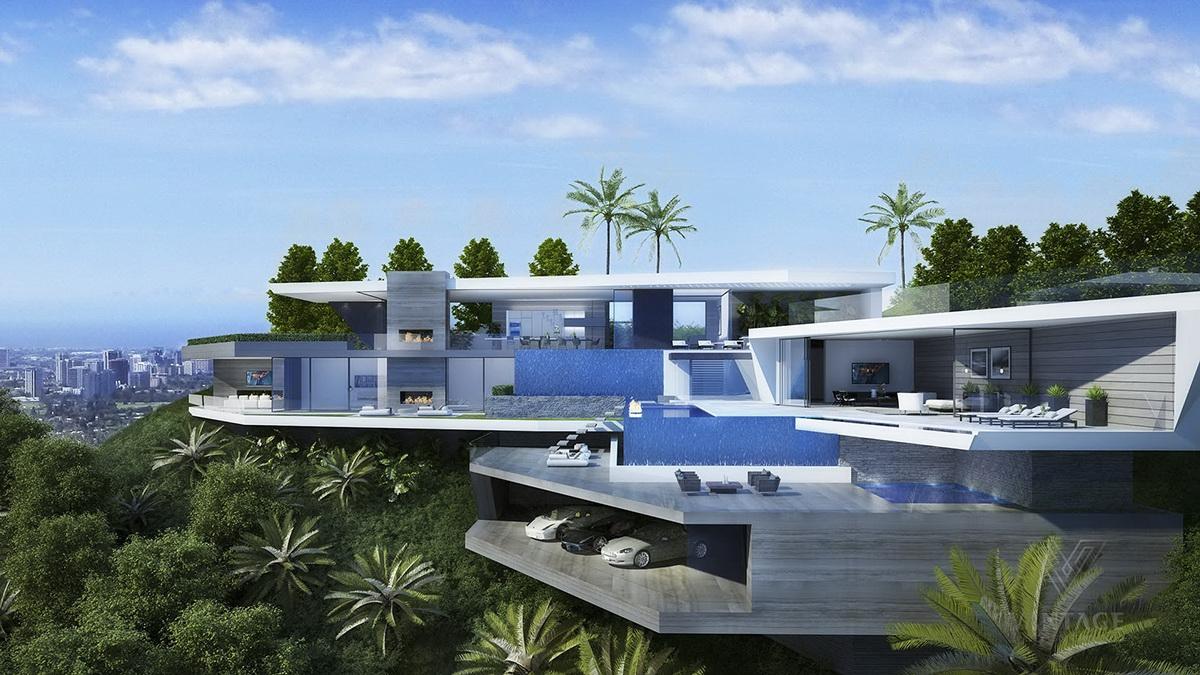 . modern hillside mansion   Interior Design Ideas