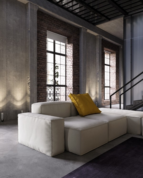an industrial inspired apartment with sophisticated style. Black Bedroom Furniture Sets. Home Design Ideas
